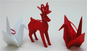 Christmas Origami Reindeer and swan decorations in white and red