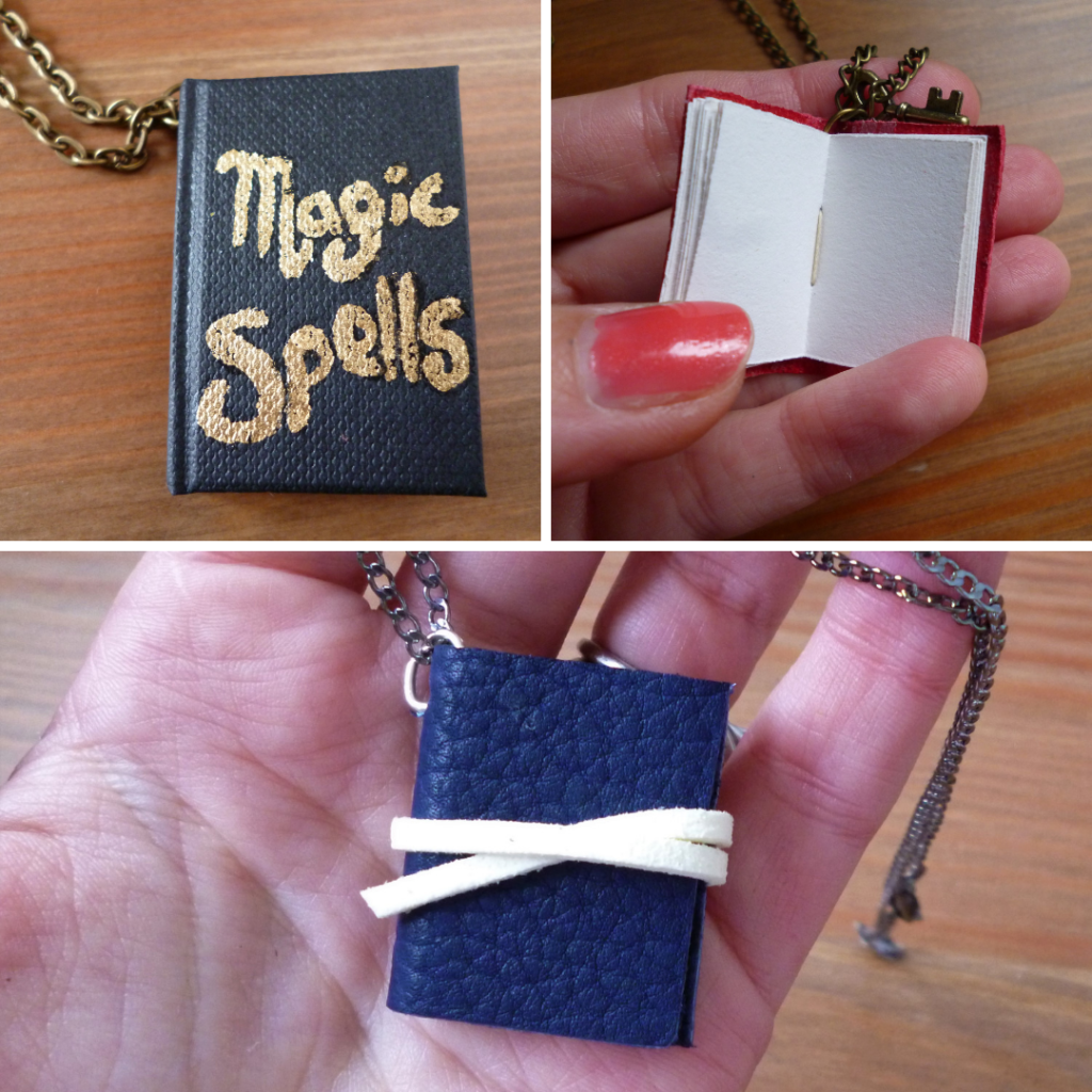 Handmade book necklaces