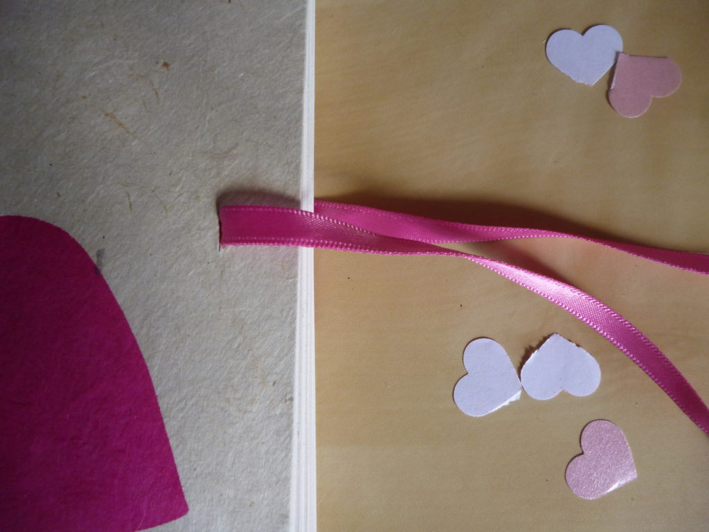 Wedding book pink heart ribbon