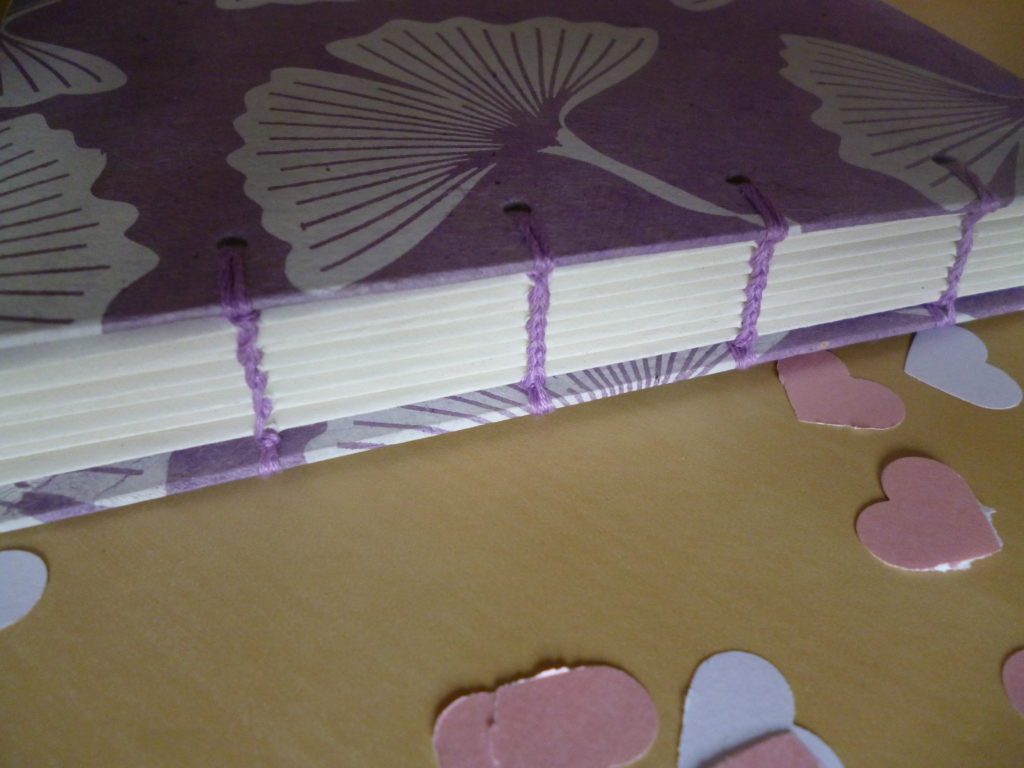 Lilac guest book spine